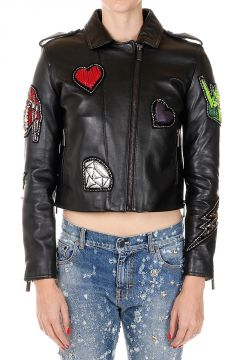 Leather Jacket with Paillettes