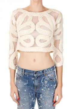 Short EMBROIDERED WOOLEN BRAID Sweater