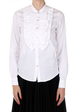 Poplin Cotton Rouched Shirt
