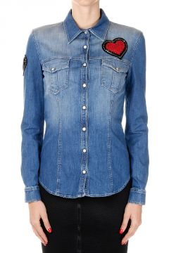 Camicia in Denim con Paillettes Applicate