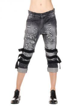 18 cm Destroyed Denim EMBROIDERED BAND Jeans