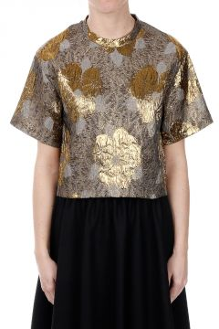 Brocade Fabric Short Sleeves Top