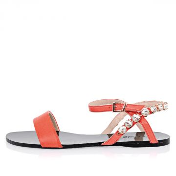 Leather VERMILLON Sandals With Jewel Details