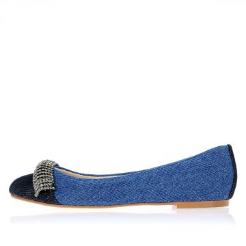 Denim ANNINA Ballet Flat With Jewel Details