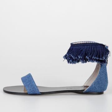 Leather Denim BANG Sandals With fringes
