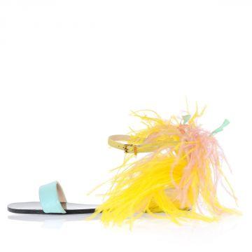 Sandalo in Pelle con Piume