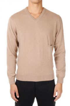 Cashmere Sweater with breast pocket and V neck