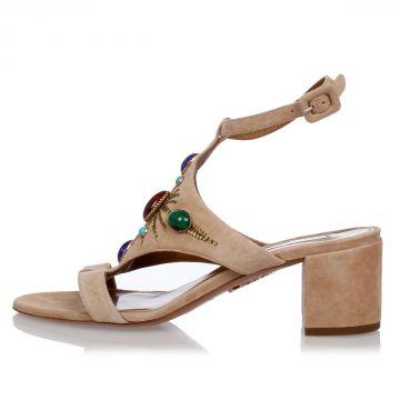 Sandalo in Pelle Con Pietre e ricami