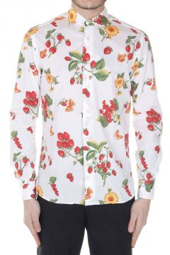 Camicia Slim Fit in Cotone Stretch con Stampa Frutta