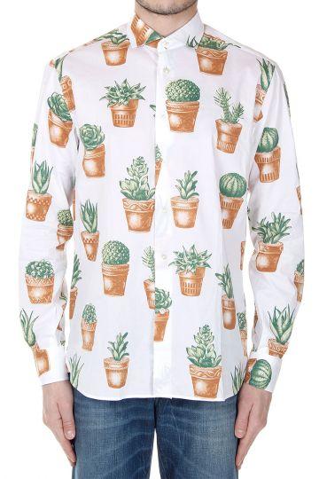 Camicia Slim Fit con Stampa Piante