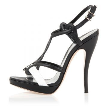 Heeled Leather Sandal Shoes