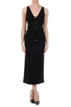 Long Dress with Crossed Fastening on the Front