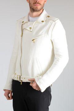 PIERRE BALMAIN Linen Blend Biker Jacket