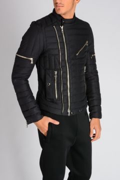 Quilted Biker Down Jacket