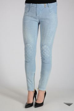 Mixed Cotton Pants With Ankle Zip