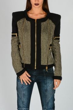 Cotton Blend Jacket With Gold Embroidery