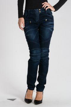 Jeans in Misto Cotone con Ricami 12cm