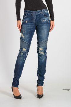 12cm Stonewashed Biker Jeans