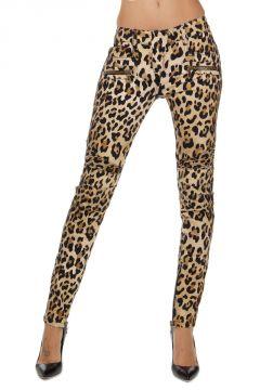 Pantaloni stretch con stampa leopardata
