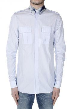 Shirt with Denim Collar