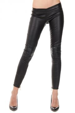 Leggings in Pelle con zip Dorata
