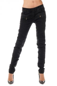Zipped Ankle Stretch Denim Jeans 13 cm