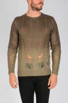 PIERRE BALMAIN Destroyed Wool Blend Sweater