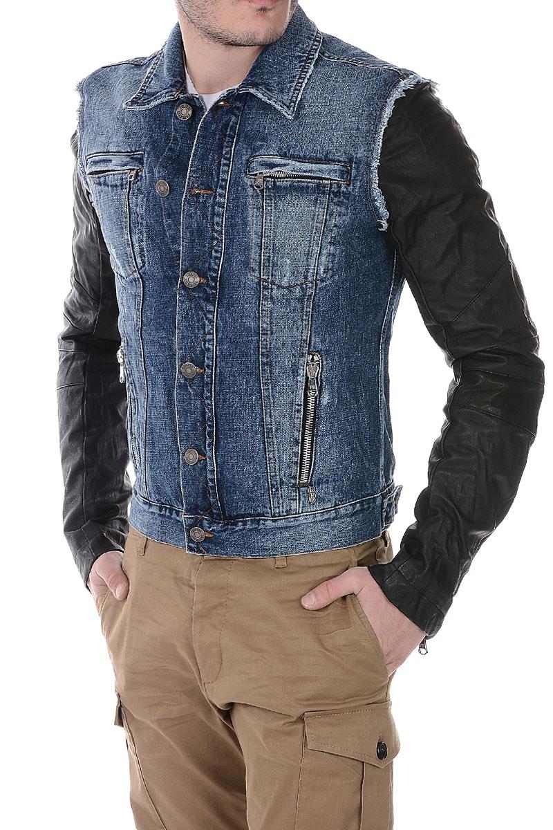 balmain men pierre balmain denim leather jacket spence outlet. Black Bedroom Furniture Sets. Home Design Ideas