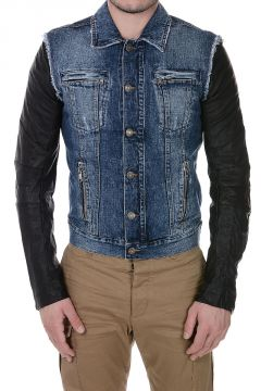 PIERRE BALMAIN Giubbotto in Denim e Pelle