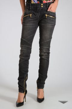 Stretch Cotton Biker Jeans 13 cn