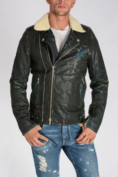 Giubbotto Biker in Denim Spalmato con Fodera in Lana