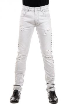 PIERRE BALMAIN 18 cm Light Denim Jeans with Studs