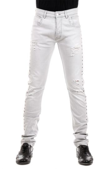 PIERRE BALMAIN Jeans in Denim Chiaro Borchiato 18 cm