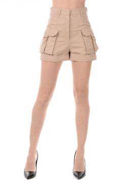 Pantaloni Shorts in Cotone e Lino