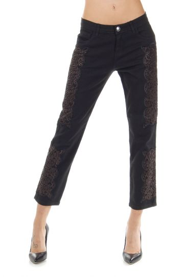 17 cm Embroidered lace Skinny Stretch trousers