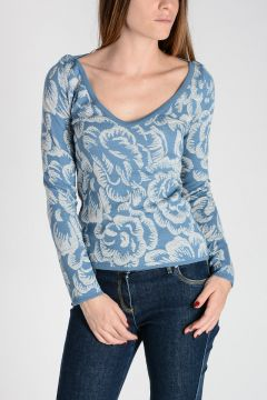 Floral Wool & Lurex Jacquard Sweater