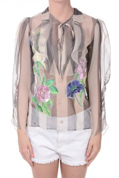 Embroidered Silk Blouse with Frills