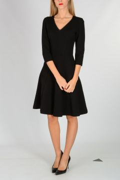 Flared V neck Dress