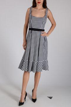 Stretch Cotton Checked Dress