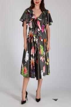 Stretch Cotton Flowered Dress