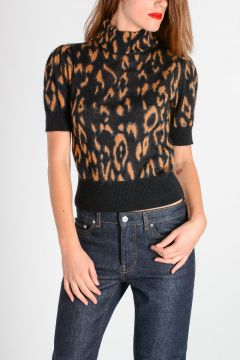 Leopard Printed High Neck Sweater