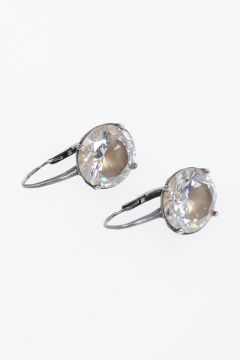 Silver Earrings Natural Zirconia