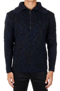 Zipped Neck Wool Blend Pullover