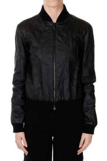 Leather Bomber with details