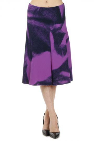 Wool Printed Flared Skirt