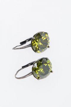 Silver Earrings Green Zirconia