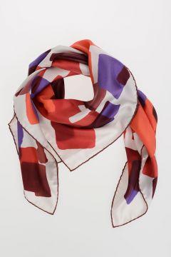 Geometric Patterned Silk Foulard 90x90 cm