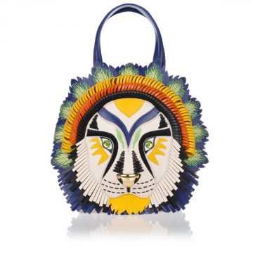 TEMI TRIBAL LION Leather Handbag