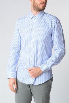 Camicia in Popeline Di Cotone Blu/Bianco