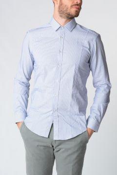 Camicia MARZIO in Popeline Di Cotone Blu/Bianco